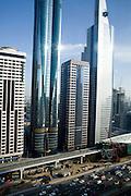 Dubai, United Arab Emirates (UAE). January 29th 2009..View on Sheikh Zayed Road from Rotana Towers..
