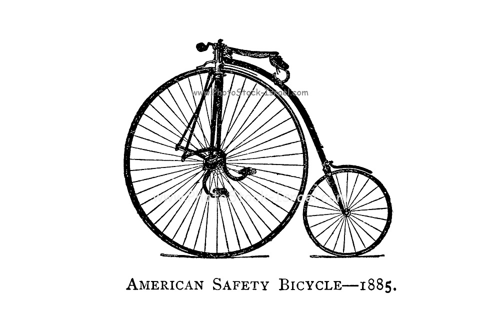 American Safety Bicycle 1885 From Wheels and Wheeling; An indispensable handbook for cyclists, with over two hundred illustrations by Porter, Luther Henry. Published in Boston in  1892