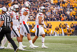 Oct 2, 2021; Morgantown, West Virginia, USA; Texas Tech Red Raiders place kicker Jonathan Garibay (46) celebrates after kicking the go ahead field goal late in the fourth quarter against the West Virginia Mountaineers at Mountaineer Field at Milan Puskar Stadium. Mandatory Credit: Ben Queen-USA TODAY Sports