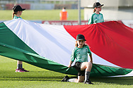 Italy flag is unveiled during the UEFA European Under 17 Championship 2018 match between Israel and Italy at St George's Park National Football Centre, Burton-Upon-Trent, United Kingdom on 10 May 2018. Picture by Mick Haynes.