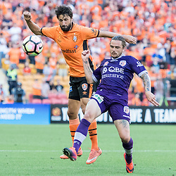 BRISBANE, AUSTRALIA - OCTOBER 30: Thomas Broich of the roar compete for the ball with Josh Risdon of the Glory during the round 4 Hyundai A-League match between the Brisbane Roar and Perth Glory at Suncorp Stadium on October 30, 2016 in Brisbane, Australia. (Photo by Patrick Kearney/Brisbane Roar)