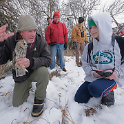 Denver Holt of the Owl Research Institute discusses his nearly 30-year long-eared owl research project with a group from the local Audubon chapter in Missoula, Montana.