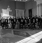 Diplomatic Corps. received by President de Valera..1962..01.01.1962..1st January 1961..The assembled Diplomatic Corps to Ireland was presented to President Eamon Devalera at Áras an Uachterain today. Representatives from:.The Holy See,.Canada,Netherlands,Belgium,Spain,Sweden,.Great Britain,U.S.A,Switzerland,Portugal,Australia, Germany,.France,Italy and India were present.