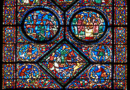 Medieval stained glass Window of the Gothic Cathedral of Chartres, France - dedicated to the life of St Anthony of the Desert.  Bottom central diamond panel -Placidus and a companion hunting deer , Top left oval - Placidus hears the words of Christ coming from the mouth of a stag, top right oval - Placidus is baptised and given the name 'Eustace'. A UNESCO World Heritage Site. .<br /> <br /> Visit our MEDIEVAL ART PHOTO COLLECTIONS for more   photos  to download or buy as prints https://funkystock.photoshelter.com/gallery-collection/Medieval-Middle-Ages-Art-Artefacts-Antiquities-Pictures-Images-of/C0000YpKXiAHnG2k