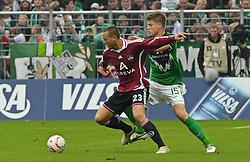30.10.2010, Weserstadion, Bremen, GER, 1. FBL, Werder Bremen vs 1. FC Nürnberg / Nuernberg, im Bild Julian Schieber (Nuernberg #23), Sebastian Prödl / Proedl (Bremen #15)   EXPA Pictures © 2010, PhotoCredit: EXPA/ nph/  Frisch+++++ ATTENTION - OUT OF GER +++++