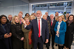 © Licensed to London News Pictures. 29/10/2019. London, UK. Labour Party Leader Jeremy Corbyn is surrounded by the shadow cabinet at headquarters as he announces his support an early general election. The government are expected to call for another vote on a general election in Parliament later today. Photo credit: Peter Macdiarmid/LNP
