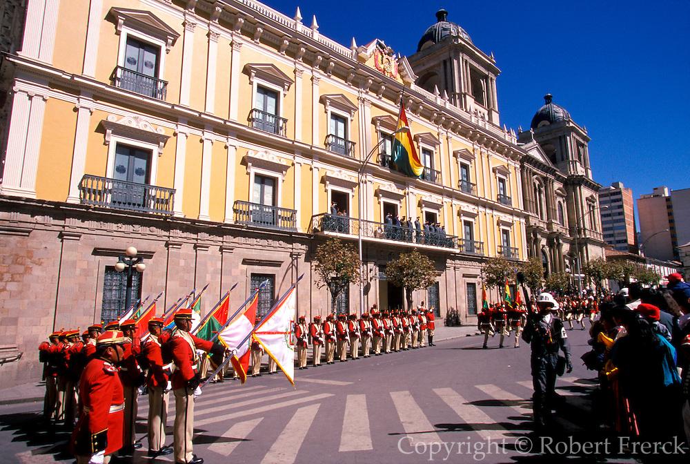 BOLIVIA, LA PAZ raising flag at Presidential Palace