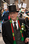 A man from the United Irish Counties Association, bedecked for the holiday.