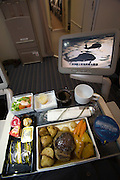 Airbus A380 first commercial flight - Singapore Airlines SQ 380 Singapore-Sydney on October 25, 2007. Economy class lunch and Krisworld inflight entertainment center.