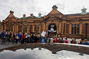London, UK 2nd April: Campaigners protesting the closure by Lambeth council of Carnegie Library listen to speakers on Herne Hill, south London on 2nd April 2016. The angry local community in the south London borough have occupied their important resource for learning and social hub for the weekend. After a long campaign by locals, Lambeth have gone ahead and closed the library's doors for the last time because they say, cuts to their budget mean millions must be saved. A gym will replace the working library and while some of the 20,000 books on shelves will remain, no librarians will be present to administer it. London borough's budget cuts mean four of its 10 libraries will either close, move or be run by volunteers. ©Richard Baker / Alamy Live News.