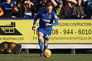 AFC Wimbledon attacker Shane McLoughlin (38) dribbling during the EFL Sky Bet League 1 match between AFC Wimbledon and Charlton Athletic at the Cherry Red Records Stadium, Kingston, England on 23 February 2019.
