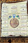 An information board in the centre of Chateauneuf-du-Pape: Chateau la Nerthe, Saint Pierre, Paul et Regis Avril, les Clefs d'Or, de Nalys, Juliette Avril, Monpertuis, Saint Prefert, Mont-Redon, Pierre Laget, Beaurenard, Vieux Lazaret, Pontificau, Pere Caboche, Lucien Barrot, du Vatican, Grand Tisel  Chateauneuf-du-Pape Châteauneuf, Vaucluse, Provence, France, Europe  Chateauneuf-du-Pape Châteauneuf, Vaucluse, Provence, France, Europe