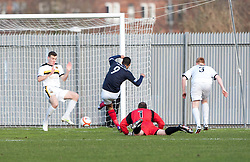 Falkirk's Lyle Taylor misses in the first minutes..Dumbarton 0 v 2 Falkirk, 23/2/2013..©Michael Schofield.