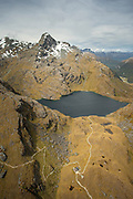 Scenic landscape with an aerial view of the Humboldt Mountains and a lake, South Island, New Zealand