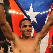 ORLANDO, FL - OCTOBER 04:  Felix Verdejo of Puerto Rico celebrates after knocking out Sergio Villanueva of Mexico during their professional lightweight boxing match at the Bahía Shriners Auditorium & Events Center on October 4, 2014 in Orlando, Florida. (Photo by Alex Menendez/Getty Images) *** Local Caption *** Felix Verdejo; Sergio Villanueva