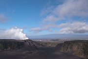 Smoke rises from the volcano at Volcano National park in Hawaii.