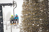Brothers Skylar and Connor Patten ride the lifts at Alta.