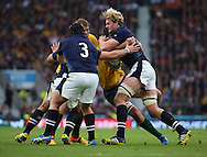 Scotland's Richie Gray probing and trying to find a way through during the Rugby World Cup Quarter Final match between Australia and Scotland at Twickenham, Richmond, United Kingdom on 18 October 2015. Photo by Matthew Redman.
