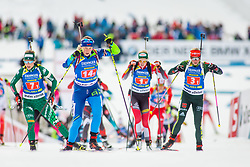 Hanna Sola (BLR), Federica Sanfilippo (ITA) and Franziska Hildebrand (GER) during Single Mixed Relay at day 1 of IBU Biathlon World Cup 2018/19 Pokljuka, on December 2, 2018 in Rudno polje, Pokljuka, Pokljuka, Slovenia. Photo by Ziga Zupan / Sportida
