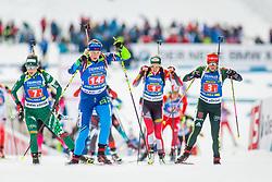 Hanna Sola (BLR), Federica Sanfilippo (ITA) and Franziska Hildebrand (GER) during Single Mixed Relay at day 1 of IBU Biathlon World Cup 2018/19 Pokljuka, on December 2, 2018 in Rudno polje, Pokljuka, Pokljuka, Slovenia. Photo by Ziga Zupan / Sportida