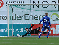 Fotball Adeccoligaen Ranheim - Vard Haugesund<br /> DnB Nor Arena, Trondheim 7 april 2013<br /> <br /> Gjermund Åsen scorer 2-1 for Ranheim på straffe. Vards keeper Helge Sandvik går til rett side, men rekker ikke fram i tide<br /> <br /> Foto : Arve Johnsen, Digitalsport