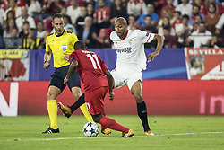 November 1, 2017 - Seville, Spain - Steven N'Zonzi of Sevilla (R ) vies for the ball with Fernando of Spartak (L ) during the UEFA Champions League Group E soccer match between Sevilla FC and Spartak Moskva at Estadio Ramon Sanchez Pizjuan (Credit Image: © Daniel Gonzalez Acuna via ZUMA Wire)