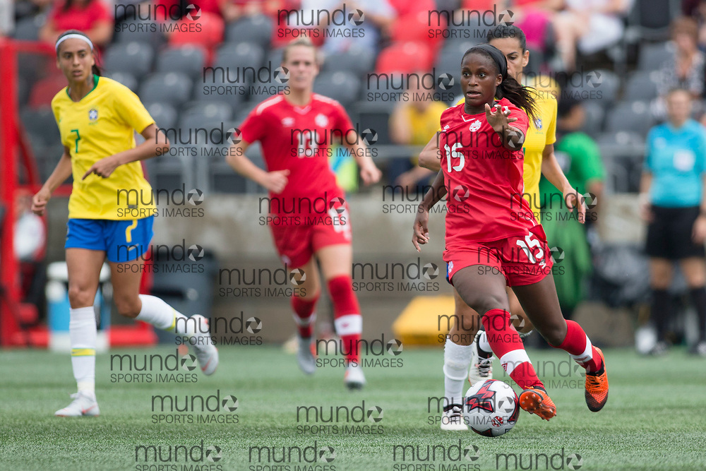 OTTAWA, ON - September 2: Nichelle Prince (15 -- F) of Canada works her way through the Brazilian defines in an international FIFA women's friendly match between Canada and Brazil at TD Place Stadium in Ottawa, Canada, September 2, 2018. (Photo by Sean Burges/Mundo Sport Images)
