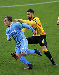 27 November 2016 - Premier League - Watford v Stoke City -- Miguel Angel Britos of Watford fouls Xherdan Shaqiri of Stoke City, is shown a 2nd yellow card and sent off - Photo: Marc Atkins / Offside.