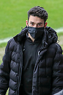 AFC Wimbledon defender Will Nightingale (5) arriving for the game wearing face mask during the EFL Sky Bet League 1 match between AFC Wimbledon and Milton Keynes Dons at Plough Lane, London, United Kingdom on 30 January 2021.