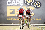 Nicola Rohrbach and Daniel Geismayr of team Centurion Vaude win the Prologue of the 2018 Absa Cape Epic Mountain Bike stage race held at the University of Cape Town (UCT) in Cape Town, South Africa on the 18th March 2018<br /> <br /> Photo by Greg Beadle/Cape Epic/SPORTZPICS<br /> <br /> PLEASE ENSURE THE APPROPRIATE CREDIT IS GIVEN TO THE PHOTOGRAPHER AND SPORTZPICS ALONG WITH THE ABSA CAPE EPIC<br /> <br /> {ace2018}