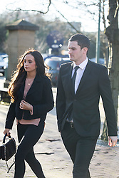 © Licensed to London News Pictures. 10/02/2016. Bradford UK. Footballer Adam Johnson arrives at Bradford Crown Court today with his girlfriend for the first day of his trial. The Sunderland player is charged with having sex with a child & grooming. Photo credit: Andrew McCaren/LNP