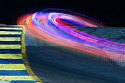 October 10-12, 2019: IMSA Weathertech Series, Petit Le Mans: Long exposure of racing action during Petit Le Mans