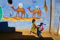Egypte, vallee du Nil, environs d'Assouan, Village Nubien coloré //  Egypt, Nile valley, Aswan, Nubian painted village around Aswan