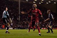 Photo: Jed Wee.<br />Liverpool v Anderlecht. UEFA Champions League.<br />01/11/2005.<br /><br />Liverpool's Djibril Cisse celebrates after scoring.