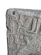 Hittite Hieroglyphic panel from Hittite capital Hattusa, Hittite New Kingdom 1450-1200 BC, Bogazkale archaeological Museum, Turkey. White background