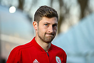 Wales Ben Davies arrives ahead of the Friendly European Championship warm up match between Wales and Trinidad and Tobago at the Racecourse Ground, Wrexham, United Kingdom on 20 March 2019.