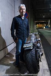 A Keiji Kawakita Hot Dock Custom Cycles creation at the Annual Mooneyes Yokohama Hot Rod and Custom Show. Japan. Sunday, December 7, 2014. Photograph ©2014 Michael Lichter.