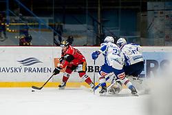 03.01.2017, Ice Rink, Znojmo, CZE, EBEL, HC Orli Znojmo vs EC VSV, 39. Runde, im Bild v.l. Colton Jaret Yellow Horn (HC Orli Znojmo) Markus Schlacher (EC VSV) Olivier Roy (EC VSV) // during the Erste Bank Icehockey League 39th round match between HC Orli Znojmo andEC VSV at the Ice Rink in Znojmo, Czech Republic on 2017/01/03. EXPA Pictures © 2017, PhotoCredit: EXPA/ Rostislav Pfeffer