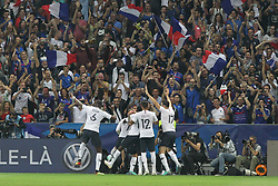 June 1, 2018 - Paris, Ile-de-France, France - French players celebrate after the penalty realized by Antoine Griezmann  during the friendly football match between France and Italy at Allianz Riviera stadium on June 01, 2018 in Nice, France..France won 3-1 over Italy. (Credit Image: © Massimiliano Ferraro/NurPhoto via ZUMA Press)