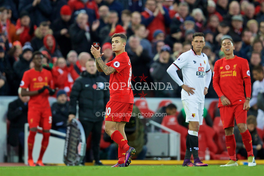 LIVERPOOL, ENGLAND - Sunday, November 6, 2016: Liverpool's Philippe Coutinho Correia applauds the supporters as he is substituted during the FA Premier League match against Watford at Anfield. (Pic by David Rawcliffe/Propaganda)