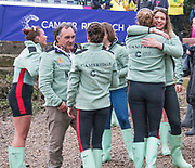 Greater London. United Kingdom, Cambridge Women's Squad celebrate. University Boat Races , Cambridge University vs Oxford University. Putney to Mortlake,  Championship Course, River Thames, London. <br /> Technical Coach. Miles FORBES THOMAS<br /> Saturday  24.03.18<br /> <br /> [Mandatory Credit  Intersport Images]