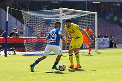 April 8, 2018 - Napoli, Napoli, Italy - Naples - Italy 08/04/2018.LORENZO INSIGNE of S.S.C. NAPOLI and TOMOVIC NENAD of CHIEVO VERONA  during SERIE A  match between S.S.C. NAPOLI and CHIEVO VERONA   at Stadio San Paolo of Naples. .Final scores S.S.C. NAPOLI -CHIEVO VERONA 2-1  (Credit Image: © Emanuele Sessa/Pacific Press via ZUMA Wire)