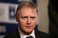 Joe Schmidt, the Ireland head coach is interviewed during the RBS Six Nations 2017 media launch at the Hurlingham Club, Ranelagh Gardens in London on Wednesday 25th January 2017.<br /> pic by John Patrick Fletcher, Andrew Orchard sports photography.