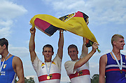 Trakai, LITHUANIA.  GER JM2X.  Gold Medalist.  Bow Stefan MASSANZ and Rene BURMEISTER. 2002 Junior World Rowing Championships, on Lake Galva Wednesday  07/08/2002 [Mandatory Credit: Peter Spurrier/ Intersport Images]. 200208 Junior World Rowing Championships, Trakai, LITHUANIA