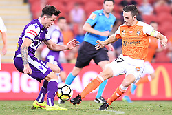 January 18, 2018 - Brisbane, QUEENSLAND, AUSTRALIA - Scott Neville of the Glory (#23, left) and Matt McKay of the Roar (#17) compete for the ball during the round seventeen Hyundai A-League match between the Brisbane Roar and the Perth Glory at Suncorp Stadium on January 18, 2018 in Brisbane, Australia. (Credit Image: © Albert Perez via ZUMA Wire)