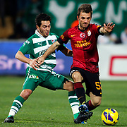 Galatasaray's Emre Colak (R) during their Turkish soccer super league match Bursaspor between Galatasaray at the Ataturk Stadium in Bursa Turkey on Saturday, 02 February 2013. Photo by Aykut AKICI/TURKPIX