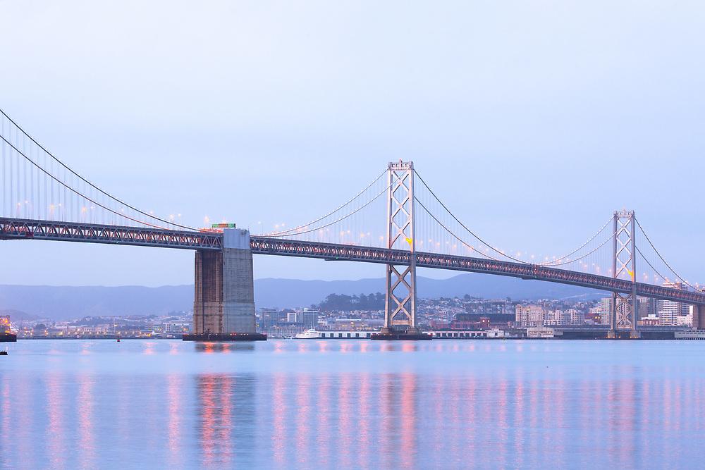 San francisco-oakland bay bridge at dawn, San Francisco, California, United States
