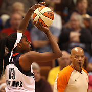 Chiney Ogwumike, Connecticut Sun, shoots during the Connecticut Sun Vs Seattle Storm WNBA regular season game at Mohegan Sun Arena, Uncasville, Connecticut, USA. 23rd May 2014. Photo Tim Clayton