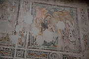 Ancient wall paintings in the interior of Narbonne Cathedral in Narbonne, France. Cathedrale Saint-Just-et-Saint-Pasteur de Narbonne, is a Gothic style Roman Catholic church located in the town of Narbonne, France. The cathedral is a national monument and dedicated to Saints Justus and Pastor.