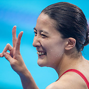 TOKYO, JAPAN - JULY 28: Yui Oahshi of Japan after winning the gold medal in the 200m Individual Medley for women during the Swimming Finals at the Tokyo Aquatic Centre at the Tokyo 2020 Summer Olympic Games on July 28, 2021 in Tokyo, Japan. (Photo by Tim Clayton/Corbis via Getty Images)